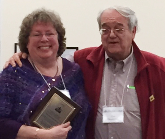 Photo of Kate and Joe after receiving the 2015 Brother Blue and Ruth Hill Award