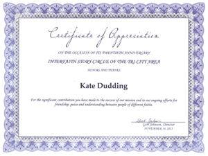 Photo of certificat of appreciation