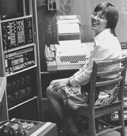 Me at beginning of computer career ca. 1973 with PDP 8/e minicomputer by Digital Equipment Corporation